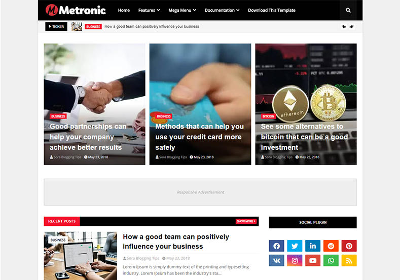 Metronic blogger haber teması haber portalı fikrinizi hayata geçirebilir.