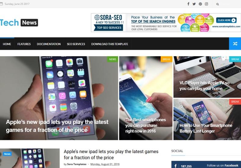 Tech news blogger teması seo uyumlu ve responsive bir temadır. Birçok alanda kullanılabilir.