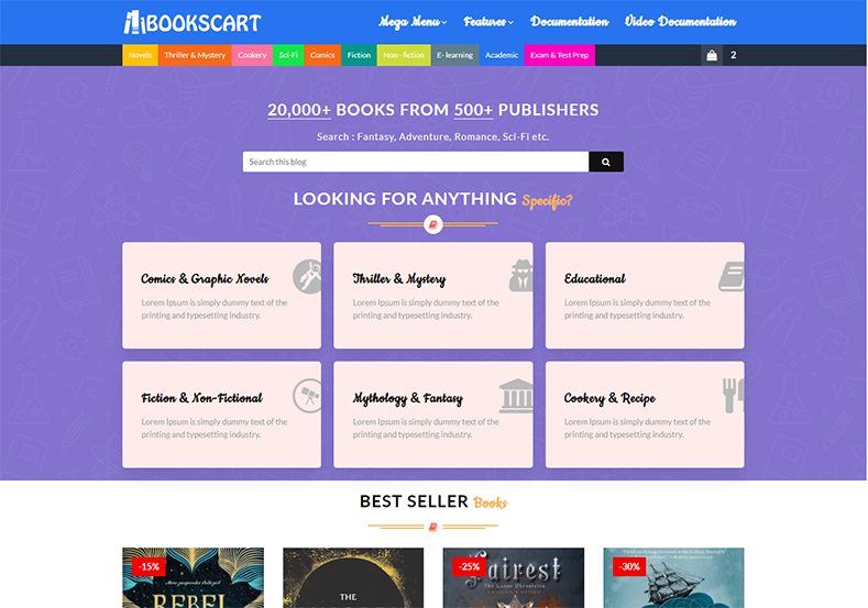 Kitap Sepeti Blogger Teması Blogspot platformunda oluşturulmuş birinci sınıf ve profesyonel bir e-ticaret temasıdır.