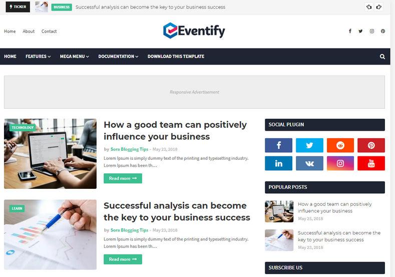 Eventify Blogger Teması duyarlı bir blogger temasıdır. Bu blogger teması Haber , Etkinlikler, Otorite, politika vb. İçin kullanılabilir