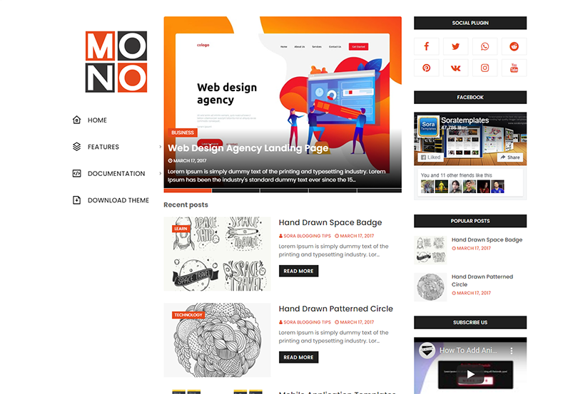 Mono Blogger Teması , duyarlı tasarıma sahip basit ve temiz, üç sütunlu bir blog blogger temasıdır.