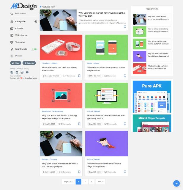 MSDesign Responsive Blogger Teması Tam Sayfa Görünümü